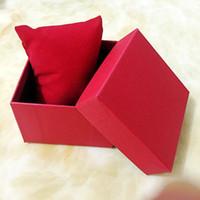 caisse d'oreiller à bijoux achat en gros de-Mode Montres boîtes papier carré boîte de montre avec oreiller 6 couleurs Boîtes cadeau étui pour boîte à bijoux montre paquet Emballage de montre-bracelet