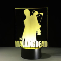 Wholesale walking dead figures resale online - The Walking Dead D Optical Illusion Lamp Night Light RGB Lights DC V USB Charging th Battery Dropshipping