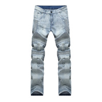 calça jeans venda por atacado-Atacado-macho Motociclista Jeans destruído tecido denim elástico Slim Fit Lavado Jeans Skinny Calças Corredores Skinny Men rasgado calças