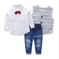 Wholesale 12 Month Boy Jeans - Wholesale Boys Childrens Clothing Sets Gentleman Shirts Waistcoat Jeans 3pcs Set Spring Autumn Bow Boy Kids Boutique Clothes Outfits