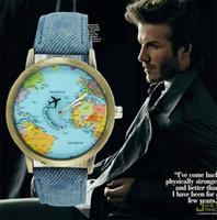 relojes vintage para unisex al por mayor-Mujeres de la manera de los hombres del reloj unisex de la vendimia de la manera mini relojes ocasionales del mapa del mundo por el reloj del cuarzo de la muñeca del reloj de cuarzo analógico del aeroplano plano
