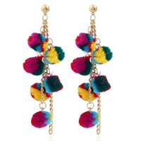 Wholesale Tassel For Hair - Wholesale Fashion Long Chain Hair Ball Clusters Tassel Trend Dangle Earrings Colorful Charm Bohemia Earrings for Women