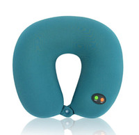 almohadas eléctricas para el cuello al por mayor-Nueva llegada cuello almohada masaje eléctrico en forma de U almohada de masaje vibración cervical masaje cuello almohadas envío gratis