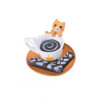 Al por mayor-Miniatura Gatito Mascota Café Cat Cup Cat Figura Cake Home Dollhouse Decor color al azar