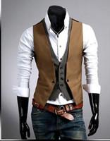 Wholesale Good Casual Dressed Men - Wholesale free shipping new brand double pcs men suit vest waistcoat men casual good quality sleeveless slim fit dress vests size 2xl