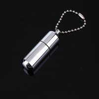 Wholesale Keychain Lighter Waterproof - Keychain Waterproof Fire Starter Capsule Oil Petrol Gas Lighter Match Fuel Bushcraft Survive Camp Hike Cigarette Cigar