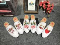 Wholesale Big Toe Slippers - 2017 White Print Slippers Summer Spring Womens Casual Shoes Genuine leather Slip on Driving Loafers Boats Shoe Big Size Ladies T Show Sapato