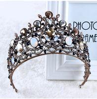 Wholesale Black Rhinestone Tiara - Wedding Bridal Head Jewelry Accessories Vintage Baroque Crystal Rhinestone Princess Queen Crown Tiara Headband Hairband Headwear Headpiece