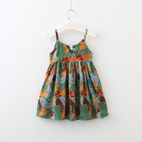 Wholesale Wholesale Cotton Kids Singlets - Summer Baby Girls Print Floral Dresses Kids Girls Fashion V-neck Ruffles Dress Babies Summer Singlet Dress 2017 childrens clothing