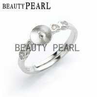 Wholesale Sterling Silver Jewelry Blanks - 5 Pieces Ring Settings 925 Sterling Silver Finding for DIY Pearl Jewelry Making Heart Ring Blanks