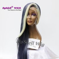 Wholesale blue curly long hair wig resale online - Long Silk Straight Highlight Blonde Dark Ash Denim Blue Piano Color Wig Wet Heat Resistant Hair Lace Front Wigs for Black Women