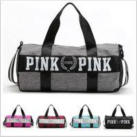 Wholesale European Style Bags - Women Pink Handbags Secret Letter Travel Bags VS Beach Bag Duffle Striped Shoulder Bags Large Capacity Waterproof Fitness Yoga Bags B1406