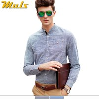 Wholesale Drop Shipping Shirts - Wholesale- Drop shipping brand men's shirts cotton slim fit men's fitness long-sleeved striped shirts mandarin collar XXL 3XL 4XL 5XL 1566