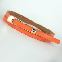Wholesale Thin Patent Leather Orange Belt - Wholesale- Long buckle double patent leather thin belt small strap japanned leather women's decoration strap female