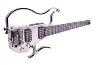 Wholesale Guitar Ebony Board - Free shipping OEM Unique Headless Travel Electric Guitar double humbucker Ebony finger board in Satin Nickel color foldable electric guitar