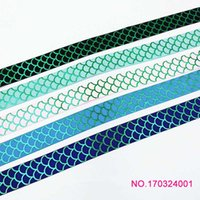 Wholesale Green Printed Grosgrain Ribbon - ribbon 7 8inch 22mm green foil mermaid scale printed grosgrain ribbon for hair tie 50yds roll free shipping