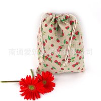 Wholesale Schools Bags Strawberry - Wholesale- 2016 Real Estuches School Wholesale Cotton Bags Mianma Cloth Pocket Bag With Drawstring Of 14*16cm Folding Strawberry Leaves Az