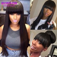 Wholesale full fringe hair online - Hot Brazilian Virgin Hair Full Fringe Wig Human Hair Glueless Lace Front Wigs With Bangs Straight Full Lace Human Hair Wigs