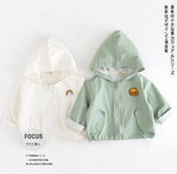 Wholesale Trench Coat Unisex Wholesale - Hot Selling Ins Baby Kids boy Girl 100% cotton trench coat long sleeve back with letter print cap baby kids coat 2 colors