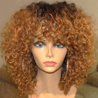 Honey Blonde Ombre Полные кружевные человеческие волосы Парики Glueless Virgin Peruvian Kinky Curly Remy Hair Lace Передний парик Two Tone Color 1b / 30