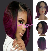 Wholesale Black Purple Short Wig - Ombre purple Bob Wigs for Black Women Synthetic Short Wigs for Women Sale Short Ombre Bob Wig Cheap African American Wigs