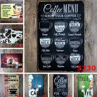 Wholesale Coffee Tins Wholesale - Bar Metal Paint Coffee Menu Vintage Tin Sign Bar Pub Shop Home Wall Decor Retro Metal Art Poster Decoration Painting 2017 New