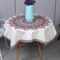 Wholesale Pastoral Cotton Linen Table Cloth Ethnic style Printed Mandala Table Cover Circular Tablecloth Decorative cloth for Wedding