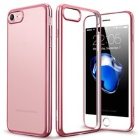 Wholesale Iphone Bumper Glossy - Clear phone case Soft TPU Plating Frame Bright Glossy Metal Coloring Bumper Back case Cover For iphone7 7plus