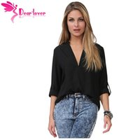 Wholesale Loose Fit Blouse - Dear Lover 2016 Autumn Casual Shirts Black V Neck Loose Fitting Chiffon Blouse Blusas Femininas Tops 7 Colors Solid LC25767