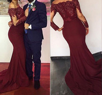 Wholesale Cheap Women Winter Wear - Burgundy Red Mermaid Evening Dresses 2017 Bateau Neck Long Sleeves Sequins Appliques Satin Cheap Prom Dresses Women Formal Evening Wears
