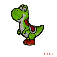 Wholesale Wholesale Lace Motifs - Embroidered DINOSAUR YOSHI CARTOON Video Comics Iron & Sew On Patch Cloth Lace Motifs