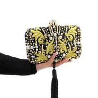perlenstickerei taschen großhandel-Großhandels-Luxuriöse Perlen-Korn-Diamant-Goldstickerei-Kupplungs-schwarze Quasten-Kristallabend-Beutel-Brauthochzeits-Handtasche mit Kette JXY636