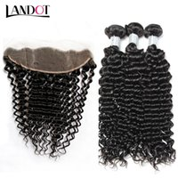 Wholesale Curly Brazilian Remy Hair Closure - Ear to Ear Lace Frontal Closure With 3 Bundles Brazilian Deep Jerry Curly Virgin Peruvian Indian Malaysian Remy Human Hair Weaves Closures