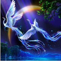 Wholesale cm pictures - New 5d Diy Diamond Painting Animals Birds Lover Phoenix Cross Stitch Round Rhinestone Pictures Of Crystals Embroidery Patchwork h660