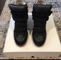 Wholesale Black Velvet Wedge Shoes - Fashion Shoes Isabel Over Basket Bekeet Faded Black Calf Velvet Leather Lamb Wedge Sneakers