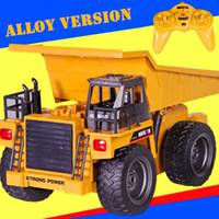 Wholesale Truck Yellow Lights - Wholesale-Alloy 2.4G 6CH Wireless RC Truck Navvy Dump Truck Light & Music Kids Engineer Vehicle RC Toys Christmas Gift