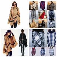 Wholesale Girls Turtle Neck - Autumn Winter woman big girls classic plaid cloak High collar shawl Poncho fashion Loose plaid Bat shawl YYA234
