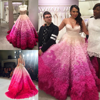 Wholesale Ombre Sweetheart Dress - 2017 Ombre Wedding Dresses A Line Ruffled Sweetheart Neckline Sweep Train Tulle Backless Plus Size Bridal Gowns