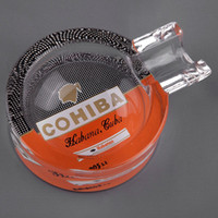Wholesale COHIBA Classic Gadgets Portable Transparent Pattern Crystal Cigar Ashtray