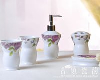 5Pcs European Peony Style Ceramic Bathroom Set Titular de escova de dente, Household Wash Brush Cup, Pratos de sabão, Lotion Bottle