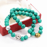 Wholesale Luck Stones Wholesale - Chain Bracelet Jewelry Turquoise Round Beads Agaphite Elephant Buddha Pendant Bracelet Bring Good Luck Women Accessories Gits Souvenirs
