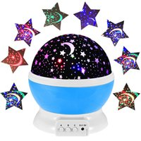 Wholesale Led Starry Sky Projection Lamp - Wholesale- 2016 Hot Romantic Rotating LED Starry Sky Star Moon Projector Night Light Rotation Projection Lamps Kids Bedside Table Lamp