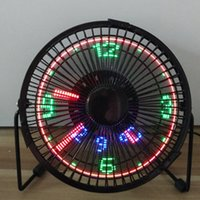 Wholesale mini clock gift - 5V ventilator fan with LED clock mini exhanst fan New and fashion cool xmas & birthday gift fret fan