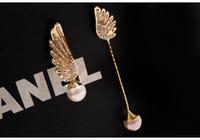 Wholesale Titanium Diamond Earring Studs - hot selling fashion earring jewelry titanium steel Asymmetrical Pearl encrusted Angel Wings Stud fashion diamond earrings hypoallergen