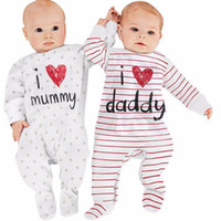 Wholesale love child baby clothes for sale - Group buy Mikrdoo Lovely Baby Rompers Newborn I Love Mummy Daddy Child Costume Striped Stars Girl Boy Jumpsuit Clothing Set Winter Clothes Suit