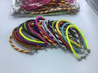 Wholesale rope anklets - wholesale 100 pcs  lot Mixed Color leather Lobster clasp Anklets rope DIY anklet fashion jewelry fitting length 20+4cm about 9 inches