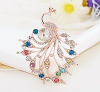 Wholesale indian peacock brooch - Full Rhinestone Crystal Peacock Brooches Fashion Wedding Prom Party Pins Brooch Costume Jewelry Corsage Brooch for Men Women Gift
