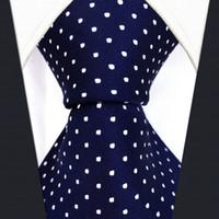 Wholesale Navy Blue Ties - S6 Dots Navy Dark Blue White Fashion Mens Neckties Ties 100% Silk Extra Long Size Jacquard Woven