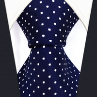 krawatten blau großhandel-S6 Dots Navy Dunkelblau Weiß Mode Herren Krawatten Krawatten 100% Seide Extra Long Size Jacquard Woven