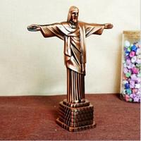 jesus metall großhandel-Umweltfreundlich Metall-Handwerk Christian Statue von Jesus Arts and Crafts Christian Geschenke Charakter Jesus Modell 17 * 7 * 21cm DHL